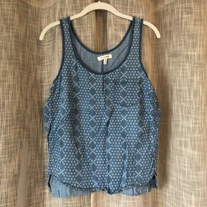 Chambray Geometric Print Tank with Pocket